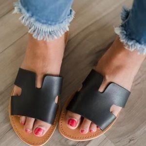Shoes - Black summer women's sandals flats faux leather